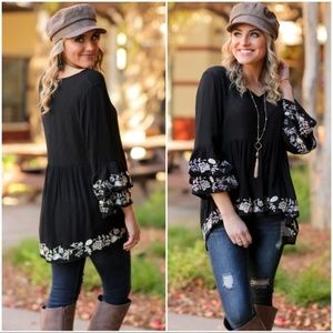 LAST ONE! Black Embroidered Bell Sleeve Tunic